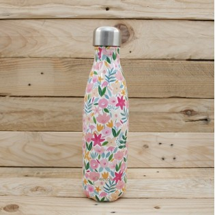 Bouteille isotherme Qwetch - 500mL - FLORA Rose