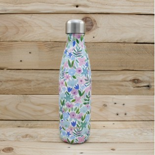 Bouteille isotherme Qwetch - 500mL - FLORA Bleue